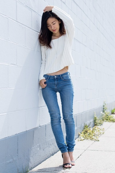 white Nasty Gal sweater - blue Zara jeans