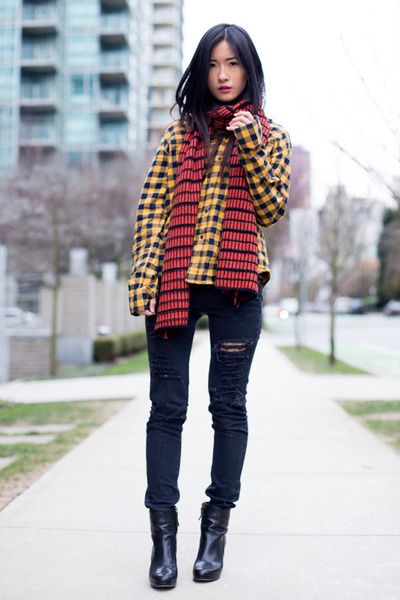 tawny Zara scarf - black Nine West boots - black Forever 21 jeans