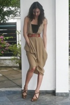 DKNY dress - anteprima top - No label vest - hilly belt - seychelles shoes
