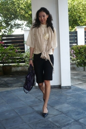 VANESSA BRUNO blouse - SPY by Henry Lau scarf - robert rodriguez shorts - unisa 