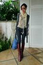 Gray-anna-sui-blouse-blue-taverniti-so-jeans-gray-spy-cardigan-brown-etien