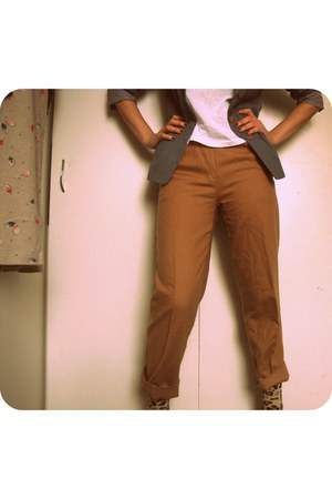 heather gray thrifted blazer - new look socks - camel united colors of benetton