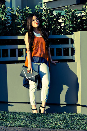 orange assymmetric Ottoman top - bardot bag - black platforms Rubi shoes heels