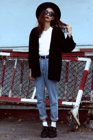 black Motel Rocks jacket - sky blue blackfive jeans - white Thrift Store t-shirt