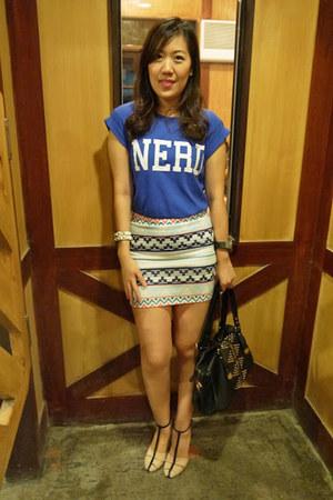 aztec print Zara skirt - Topshop shirt - Zara heels