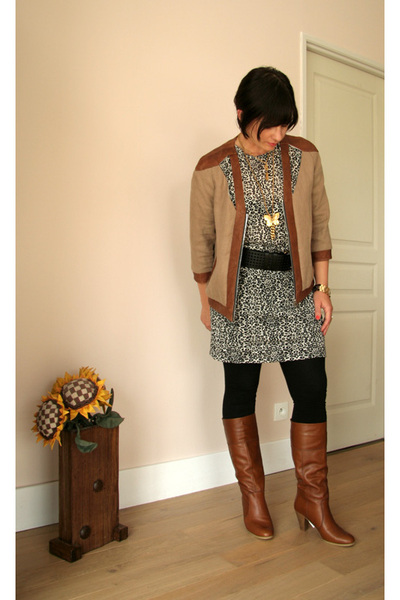 Heimstone jacket - Maje dress - Yves Saint Laurent belt - camaieu leggings - AND