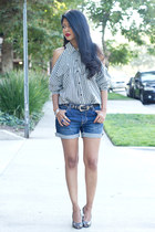 white stripes vintage blouse - blue boyfriend Urban Outfitters shorts