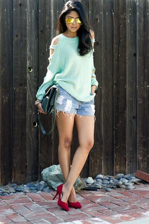 aquamarine mint knit Shop Akira jumper - forest green botkier bag
