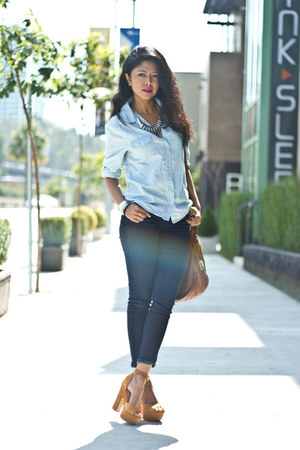 platforms Steve Madden heels - high waisted BDG jeans - chambray f21 shirt