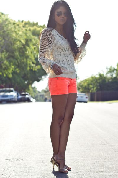 neon frayed Big Star USA shorts - knitted vintage jumper - unknown bracelet