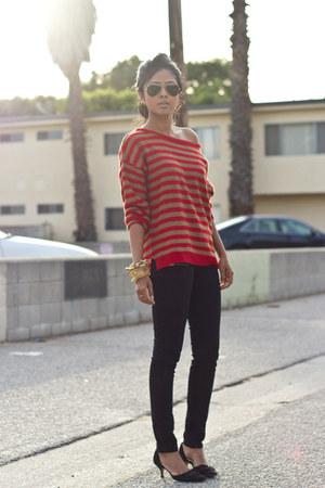 ruby red stripes Zara jumper - black black Zara jeans