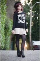 black Forever 21 sweater - black litas Jeffrey Campbell boots