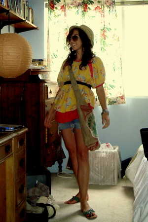blouse - LiViTY hat - purse - shorts - ecote shoes