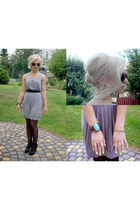 heather gray H&M dress - black Cubus sunglasses