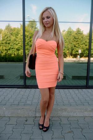 peach Tally Weijl dress - black bag