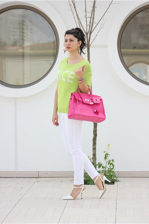 bubble gum Choies bag - chartreuse Topshop top - white Oasapcom heels
