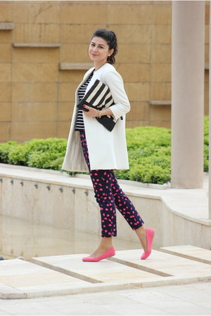 hot pink H&M flats - white Zara coat - navy H&M pants