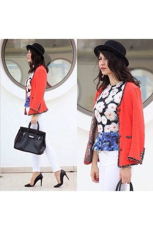 red Zara blazer - black H&M hat - black Hermes bag - white Zara panties