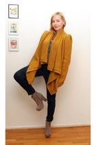 mustard Selected Femme cardigan - tan Office boots - dark green jeans