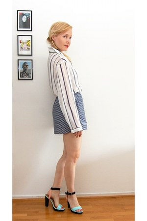 sky blue DIY shorts - white DIY blouse - H&M heels