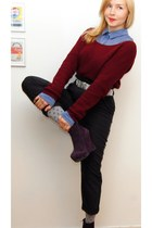 navy GINA TRICOT pants - crimson JC sweater - sky blue JC blouse
