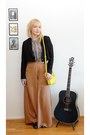 Black-suede-weekday-blazer-yellow-weekday-purse-white-vero-moda-blouse