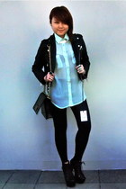 light blue sheer shirt asos shirt - black leather jacket Idle Minds jacket