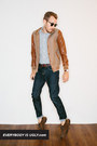 leather JCrew jacket - wayfarer Ray Ban sunglasses