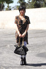 Dark-brown-faux-leather-deeny-ozzy-boots-black-floral-thrifted-dress-silve