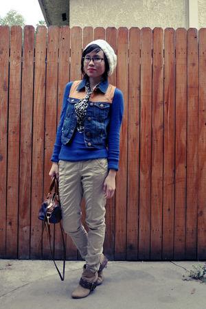blue Target top - beige Forever 21 hat - gray grandma scarf