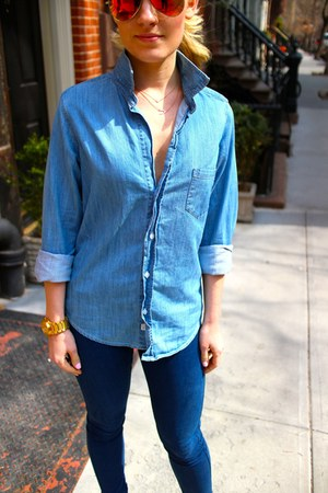 Topshop jeans - chambray Frank & Eileen blouse
