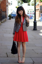 charcoal gray H&M jacket - red Three Floor dress - navy luggage tote Celine bag
