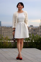 white Stradivarius jacket - ivory jack wills dress - puce Miu Miu purse
