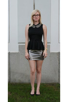 bronze pencil skirt Forever 21 skirt - black peplum Pac Sun shirt
