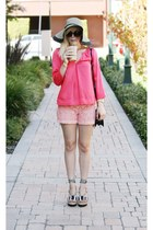 salmon DKNY shirt - peach Target hat - light pink crochet shorts shorts