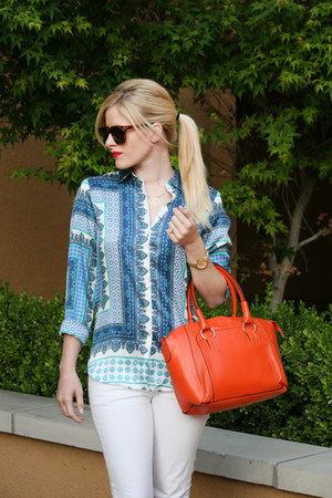 white white denim Ralph Lauren jeans - carrot orange snakeskin sammydress bag