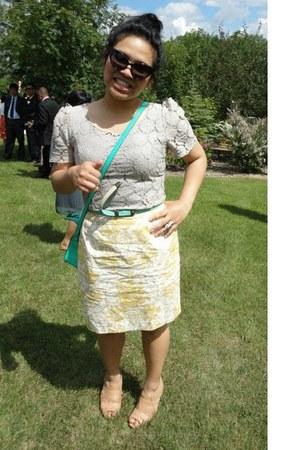 thrifted skirt - worn as a top Costa Blanca dress - garage bag