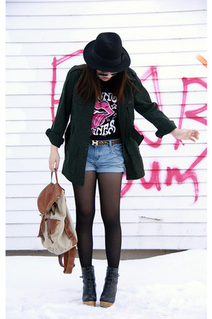 black H&amp;M hat - forest green Urban Outfitters jacket - light brown Aldo bag