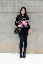 black sweater Olivia dress - black Topshop boots - black Chanel bag