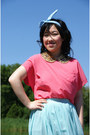 Hot-pink-urban-outfitters-top-aquamarine-forever-21-shirt