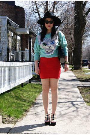 aquamarine H&M jumper - black H&M hat - black Chanel bag - red Forever21 skirt