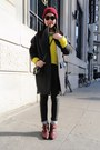 Dark-gray-h-m-coat-crimson-american-apparel-hat-yellow-jcrew-sweater