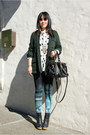 Dark-green-urban-outfitters-jacket-teal-h-m-leggings