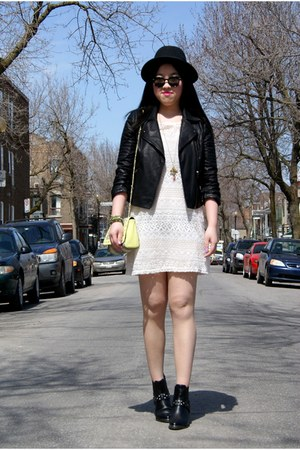 ivory H&amp;M dress - black H&amp;M hat - black Topshop jacket - yellow neon H&amp;M bag