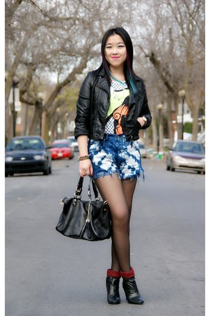 black stunned Lollipops boots - black H&amp;M jacket - navy Urban Outfitters shorts