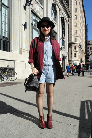 crimson Topshop boots - black H&amp;M hat - sky blue Levis jumper