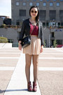 Maroon-topshop-boots-black-lace-h-m-jacket-brick-red-forever-21-shirt