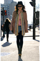 black H&M hat - black Urban Outfitters boots - salmon Urban Outfitters coat