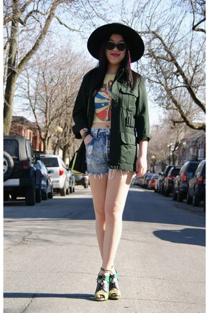 dark green Urban Outfitters jacket - black H&amp;M hat - light blue Levis shorts