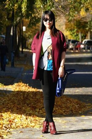 white H&M t-shirt - maroon Topshop boots - black H&M leggings